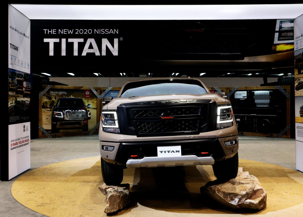 2020 Nissan Titan is on display at the 112th Annual Chicago Auto Show at McCormick Place