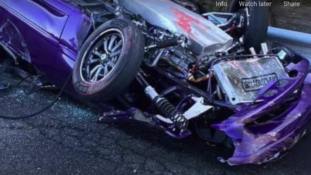 No-prep Mustang drag race crash