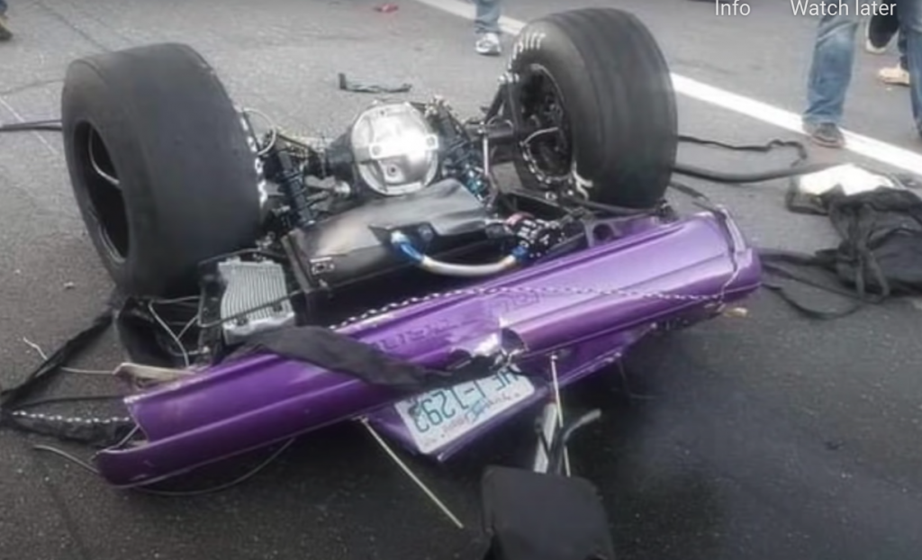 No-prep Mustang drag race crash rear section