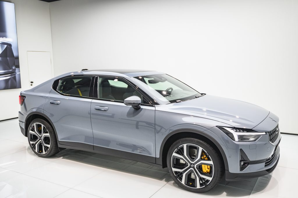 Gray Polestar 2 all-electric 5-door fastback car in grey on display at Brussels Expo