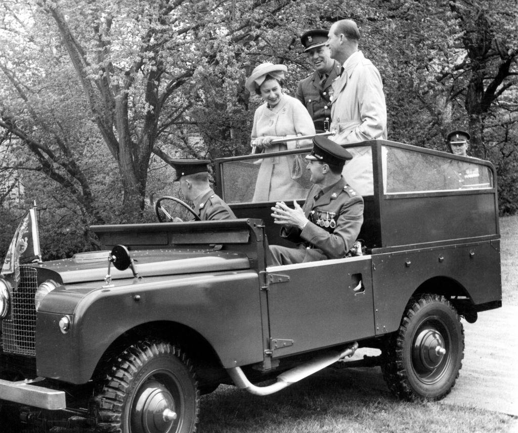 Queen Elizabeth II and the Duke of Edinburgh  in Land Rover