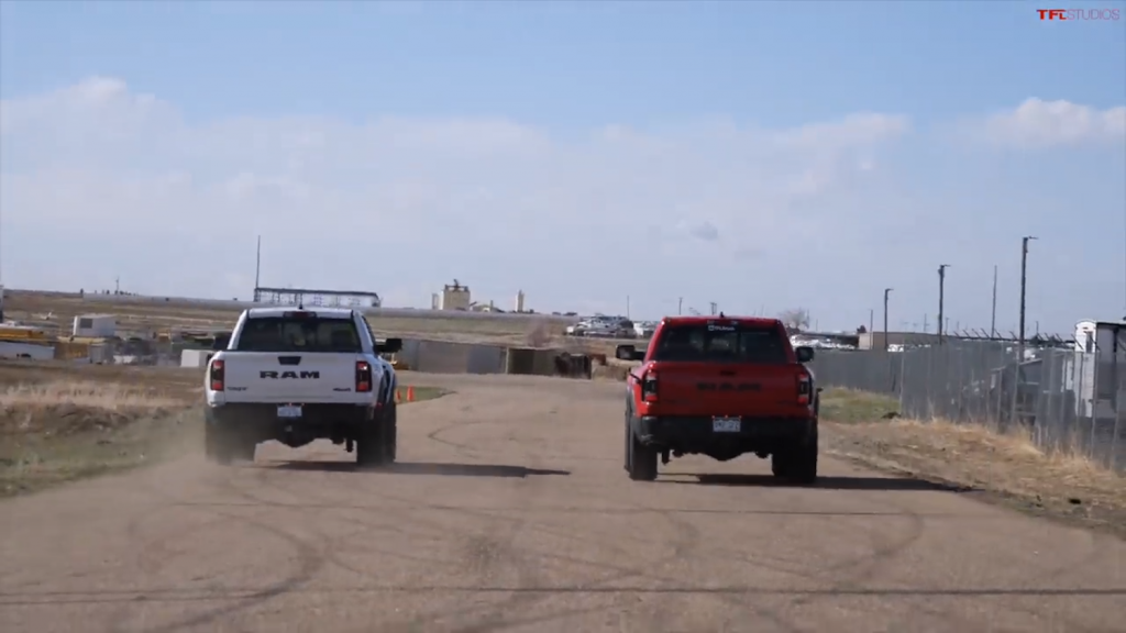 Two Ram TRX with different options drag race to see which is faster