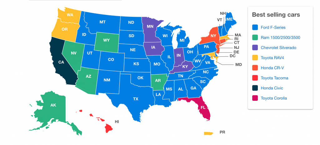 RL Polk most popular vehicles in each state