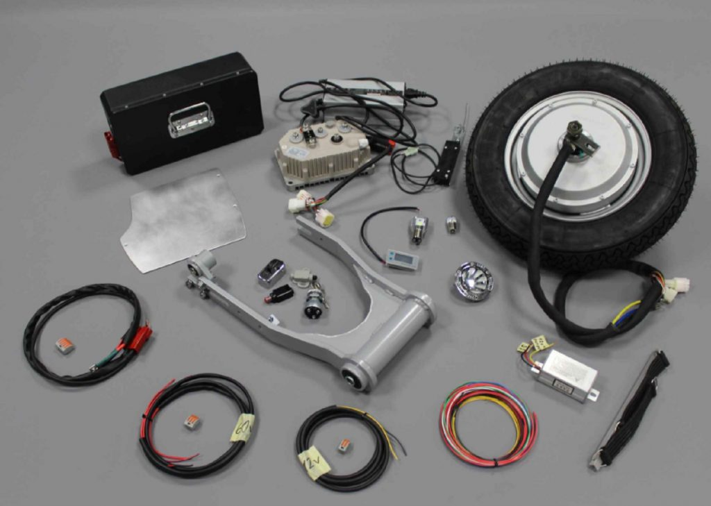 The full Retropsective Scooters Project E electric vintage Vespa conversion kit parts