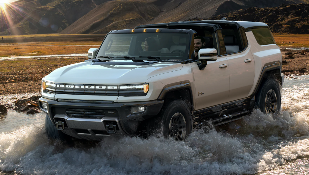 The 2024 GMC Hummer EV SUV fording water