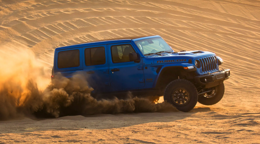 The 2021 Jeep Wrangler Rubicon 392 off-roading in sand