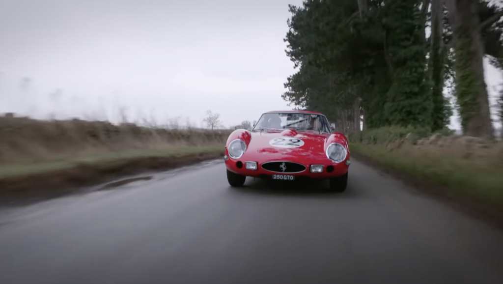 An image of an ultra-rare Ferrari 250 GTO out on the road.