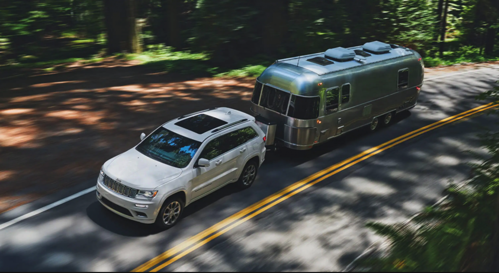 The 2021 Jeep Grand Cherokee towing an Airstream Trailer