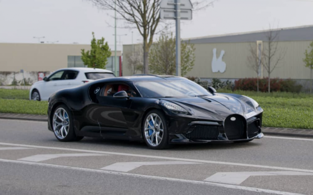 An image of a Bugatti La Voiture Noire spotted out on the road.