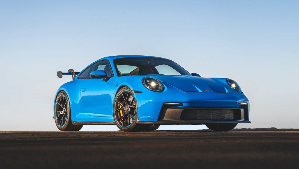 2022 Porsche 911 GT3 in Shark Blue parked on the race track
