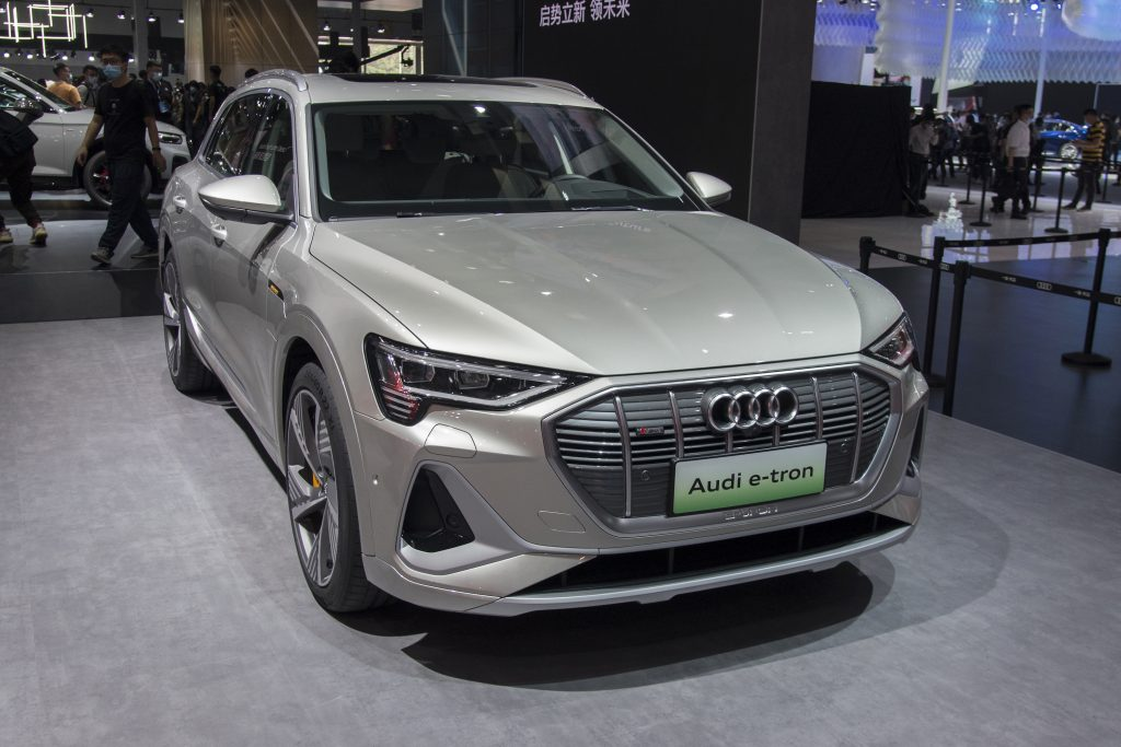 A silver Audi e-tron vehicle is on display during the 18th Guangzhou International Automobile Exhibition at China Import and Export Fair Complex