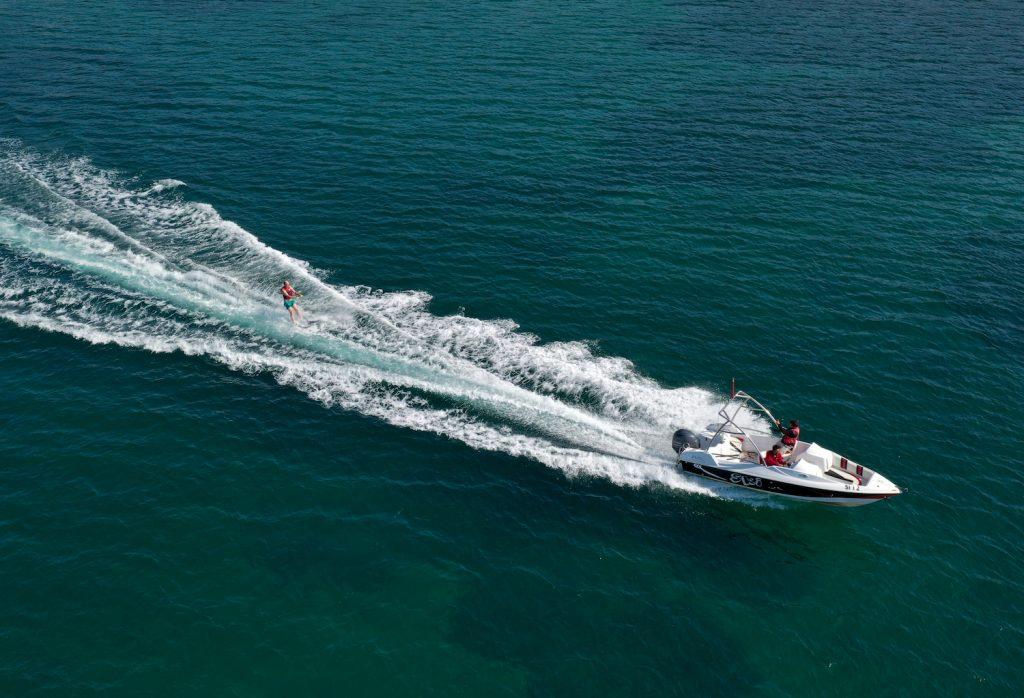 A speedboat on the open waters in Turkey
