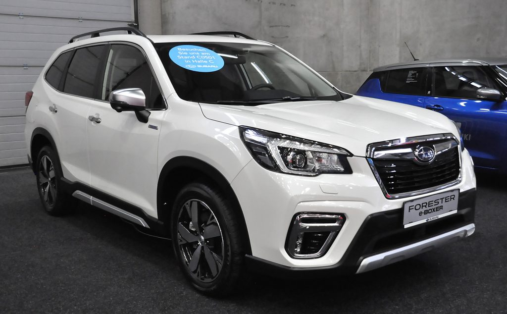 A white Subaru Forester E-boxer is seen during the Vienna Car Show press preview at Messe Wien