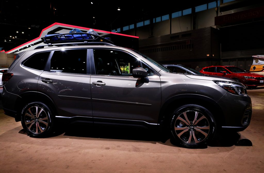 Gray 2020 Subaru Forester is on display at the 112th Annual Chicago Auto Show at McCormick Place