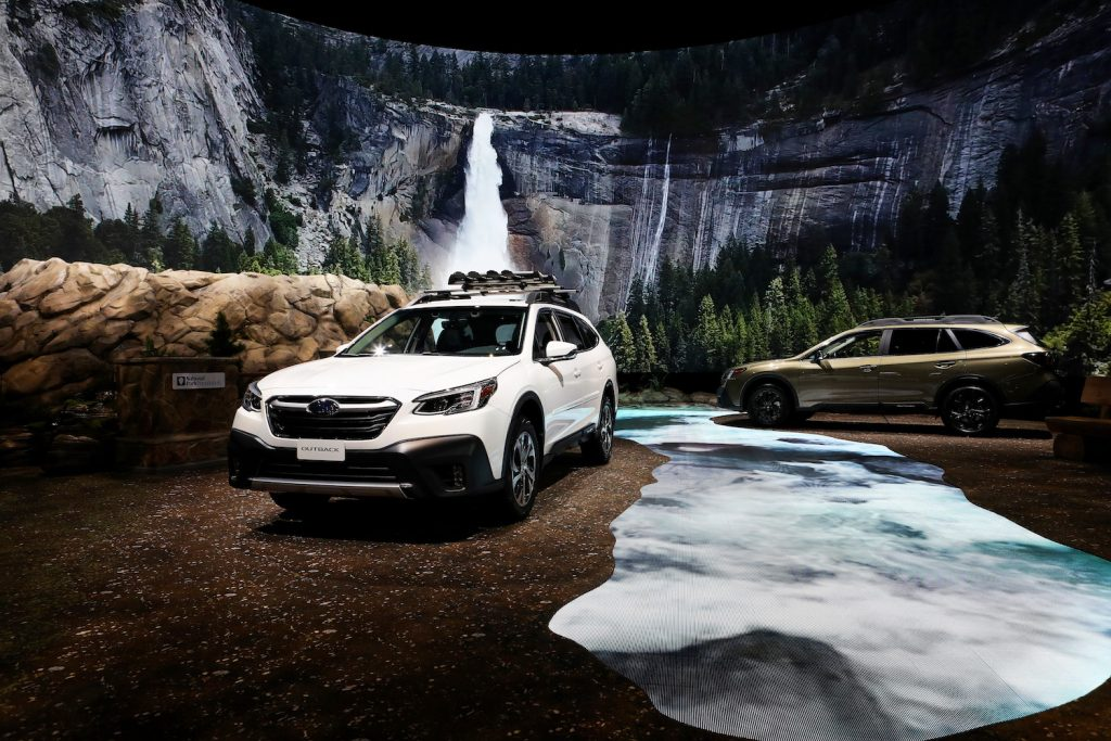The Subaru Outback XT on display at an auto show