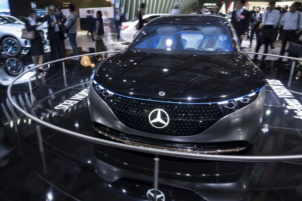 A Mercedes on display at the Tokyo Motor Show 2019