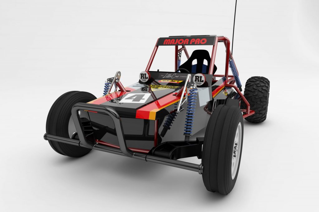 The black-and-red Tamiya Wild One MAX electric off-road buggy