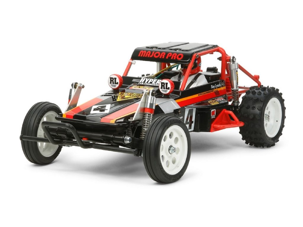 The re-released black-and-red Tamiya Wild One Off-Roader RC buggy