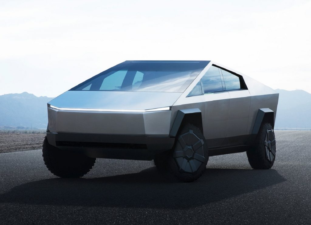 The first stainless-steel Tesla Cybertruck concept on a track