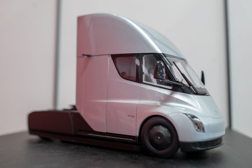 A scale model of the Tesla electric Semi