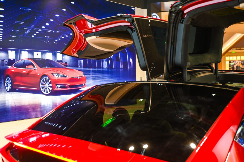 A Tesla Model X on display
