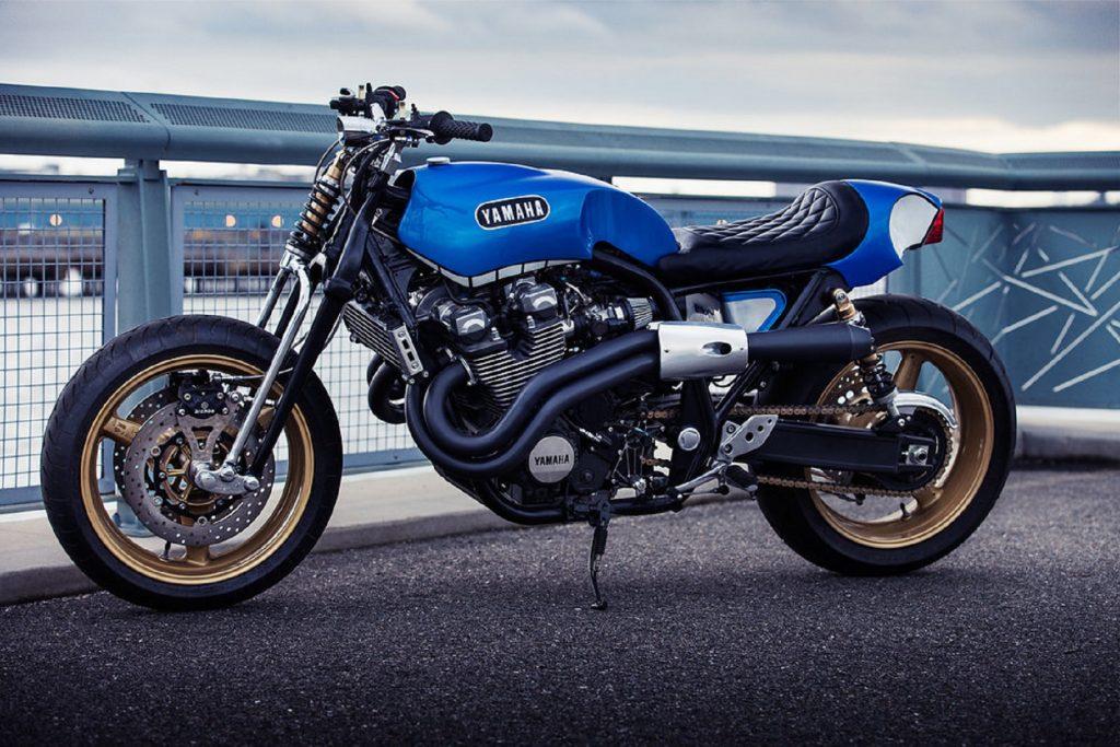 The blue 2014 Yamaha XJR1300 'Rhapsody in Blue' built by Keino Sasaki