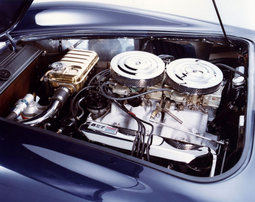 The 7.0-liter '427' V8 in a blue 1966 Shelby Cobra 427's engine bay