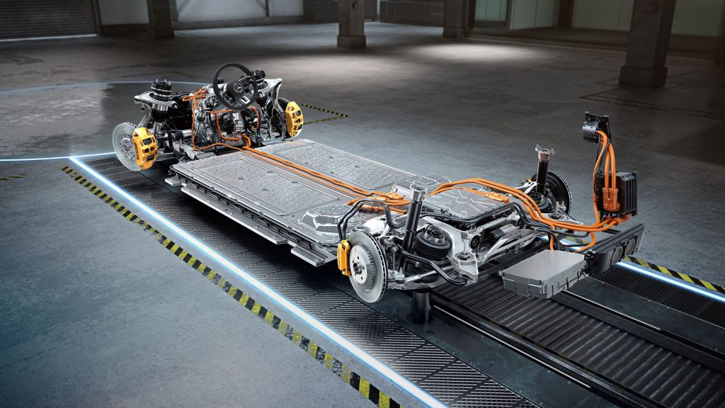 The upcoming Mercedes-AMG electric powertrain showing the battery pack, motors, and brake hardware