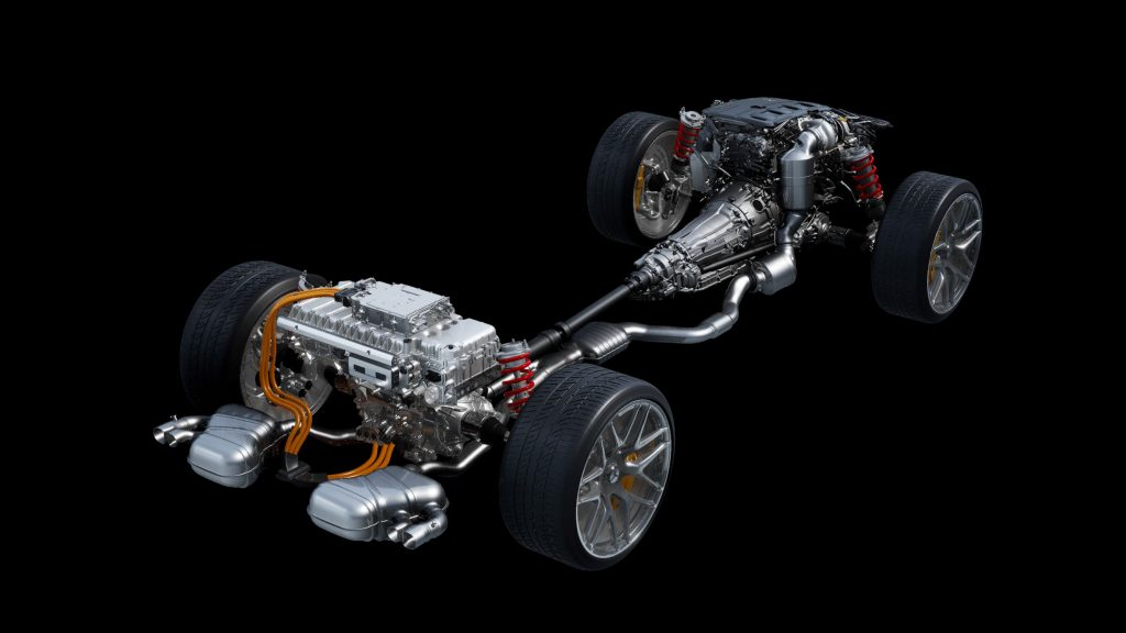 The layout of the upcoming Mercedes-AMG E Performance hybrid powertrain