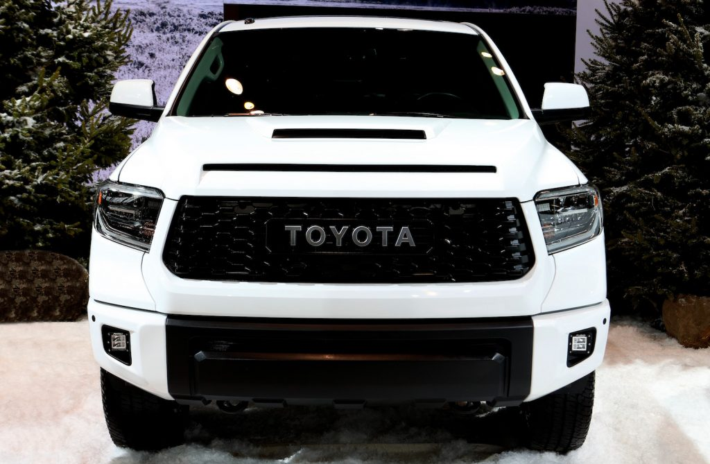 A white Toyota Tundra at an auto show