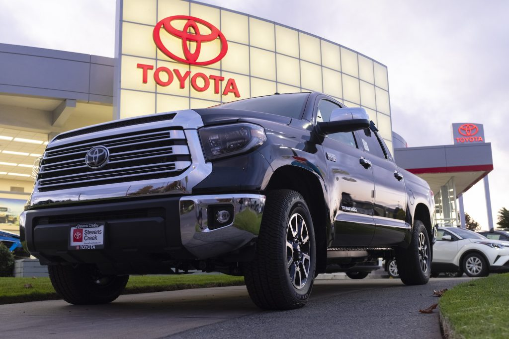 A white Toyota Tundra pickup truck is seen at a car dealership in San Jose, California.