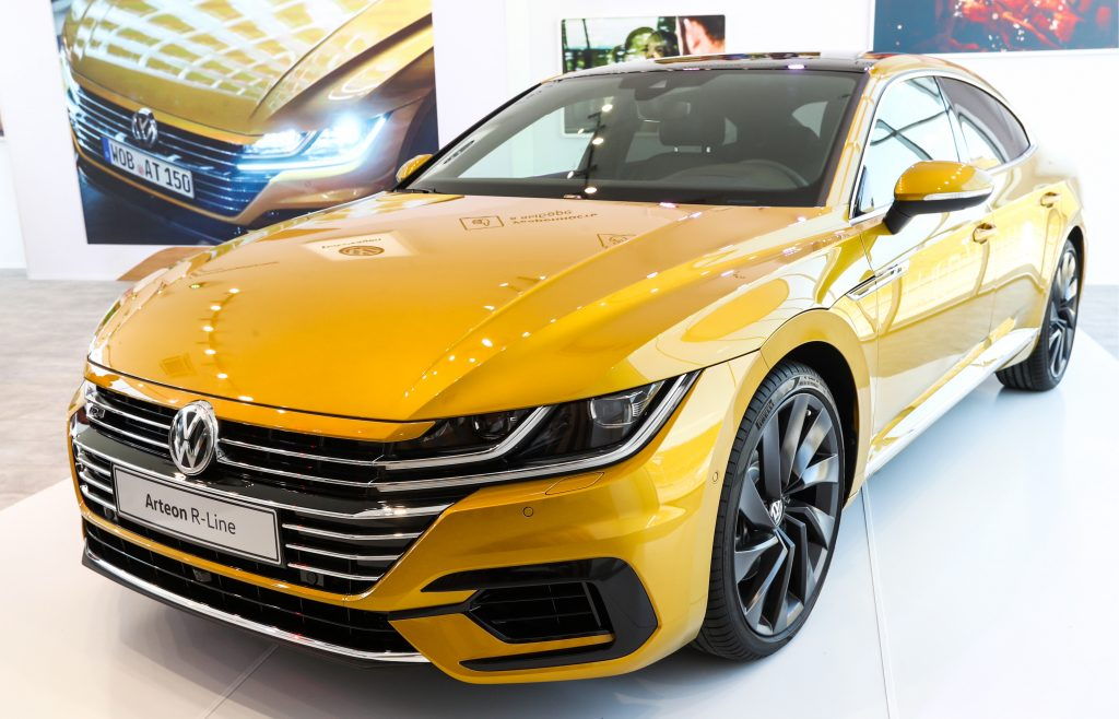 A Volkswagen Arteon R-Line car on display at the 2018 Moscow International Motor Show