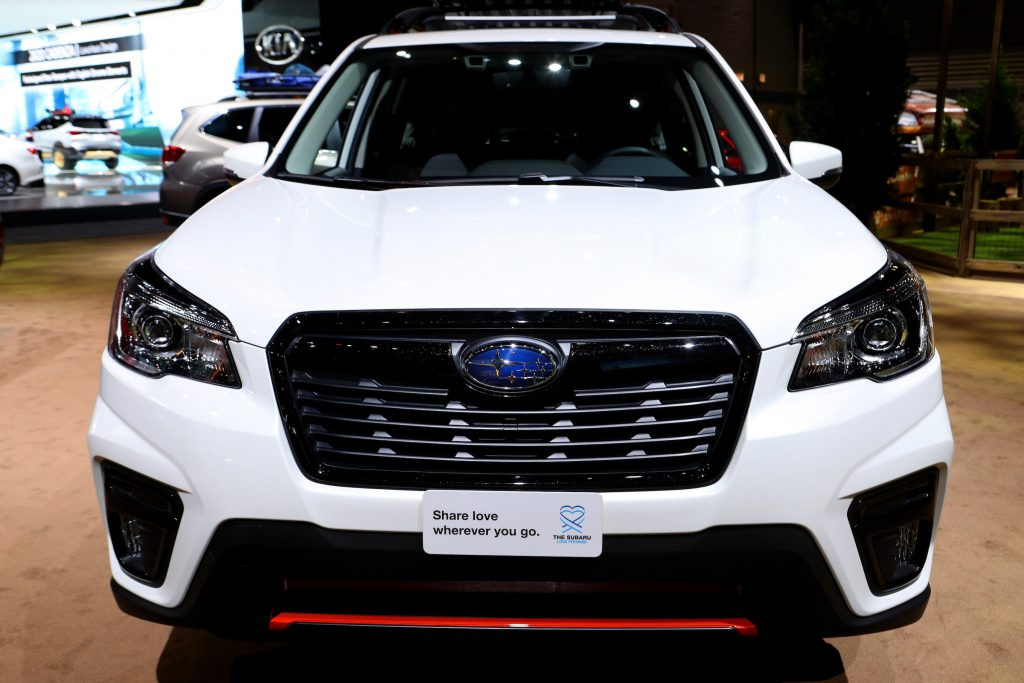 White 2020 Subaru Forester Sport is on display at the 112th Annual Chicago Auto Show at McCormick Place
