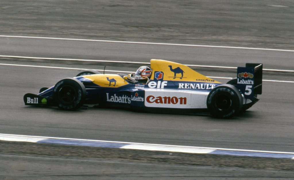 A Williams F1 car similar to the FW15c  which had a CVT