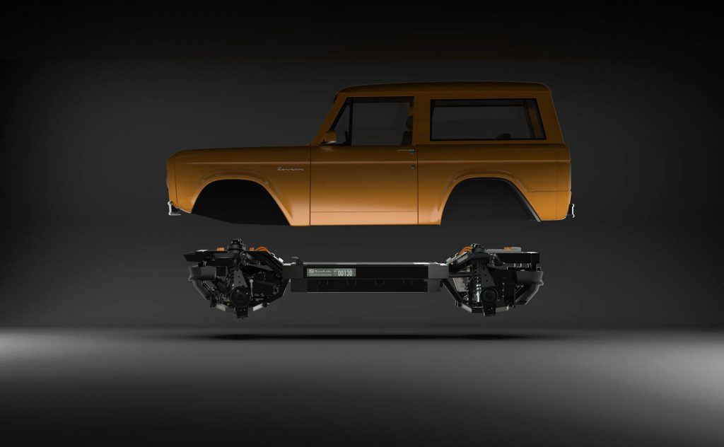 Zero Labs electric platform with Bronco body hovering above