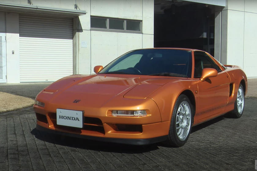 a front shot of the 1997 Acura NSX Type S in orange