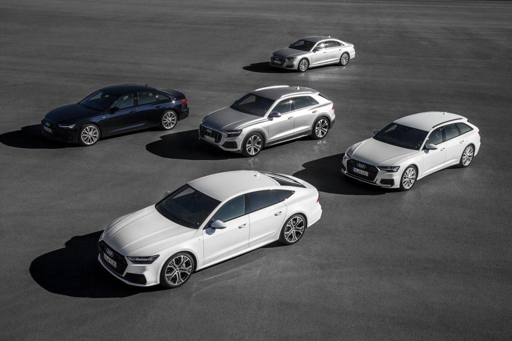 A fleet of 2021 Audi vehicles on display