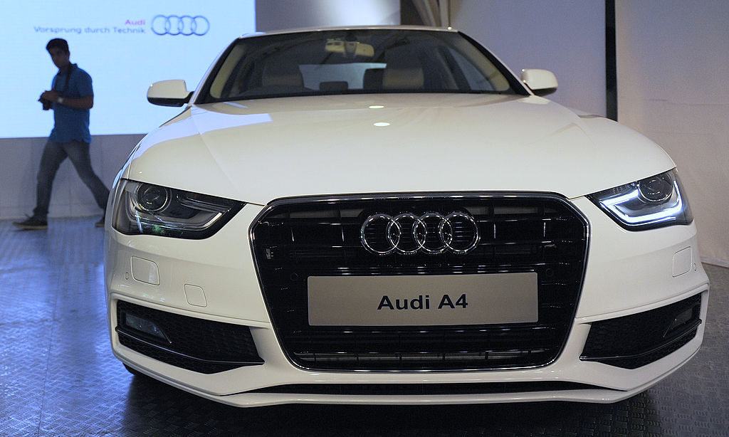 A closeup of the 2011 Audi A4 front end in white