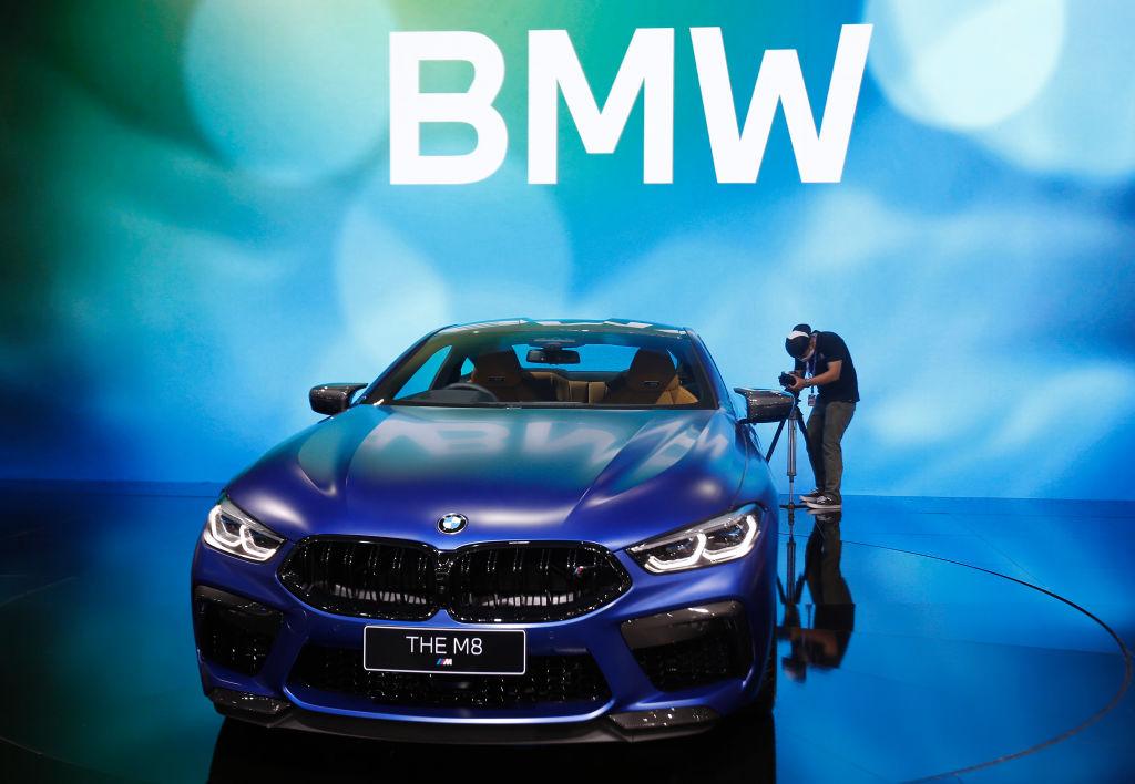 A dark blue bmw m8