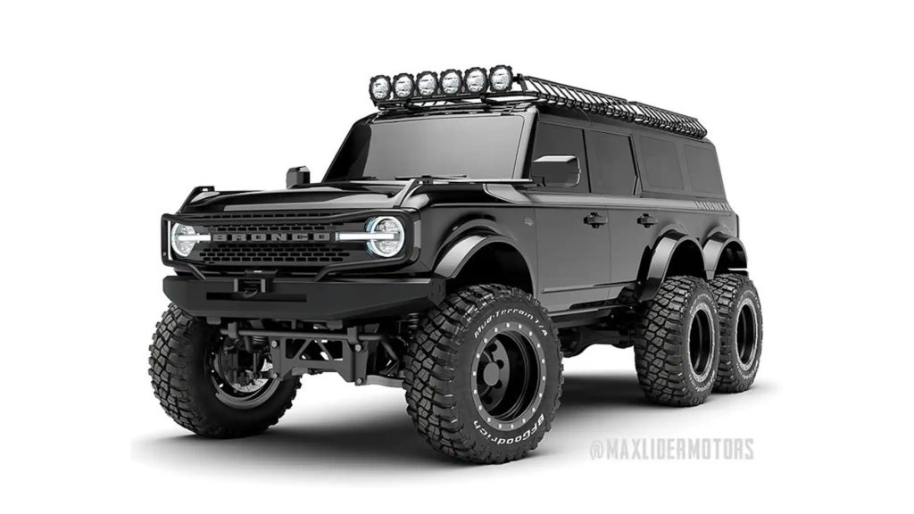 A digital image of the 2021 Ford Bronco with six wheels.