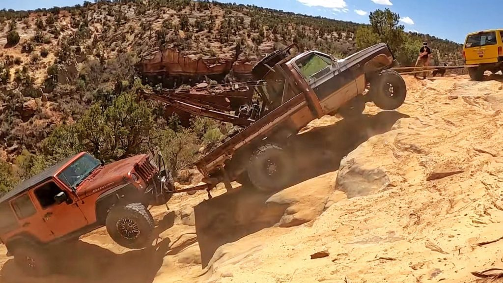 A Jeep Wrangler blew its motor and had to get an off-road recovery crew to tow it out of a canyon in Utah