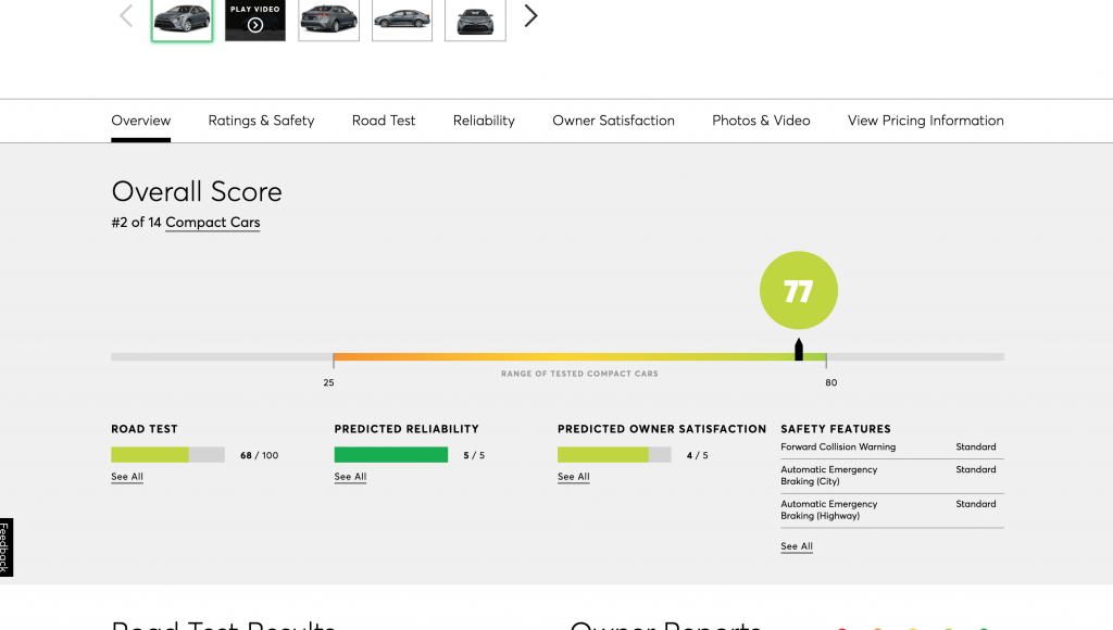 A screen shot of the ratings for the 2021 Toyota Corolla on the Consumer Reports website