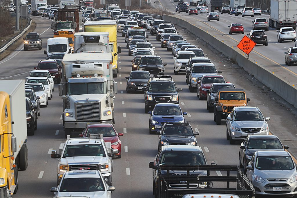Driving anxiety can result from heavy traffic and car accidents, such as the one on this highway, Route 93 in Canton, Ohio, where a truck rolled over and the contents were spilled across the highway, causing a long traffic jam on December 7, 2020