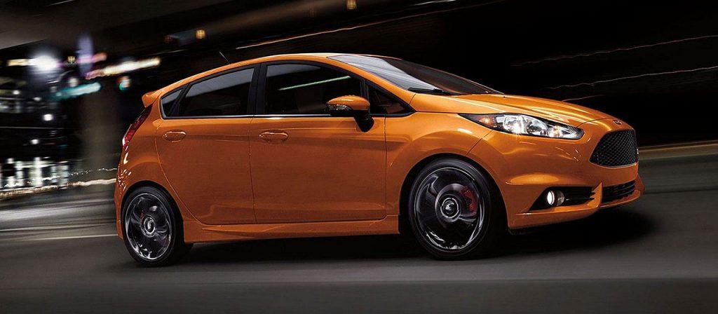 orange Ford Fiesta hatchback