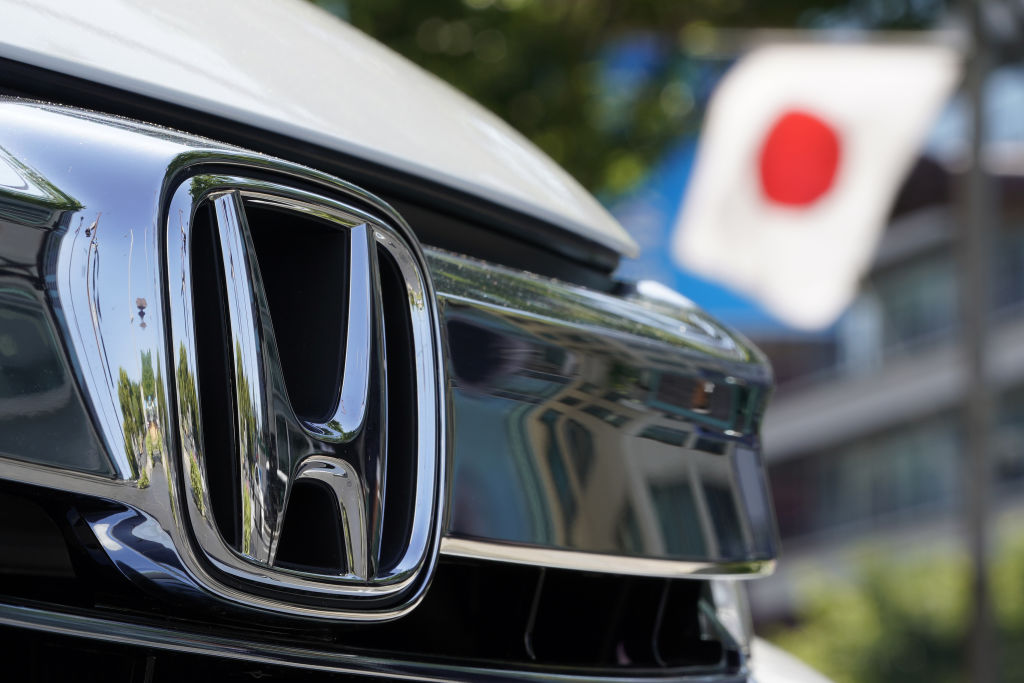 A Honda Badge up close
