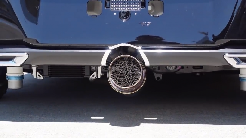 Upclose shot of the experimental hydrogen exhaust tip