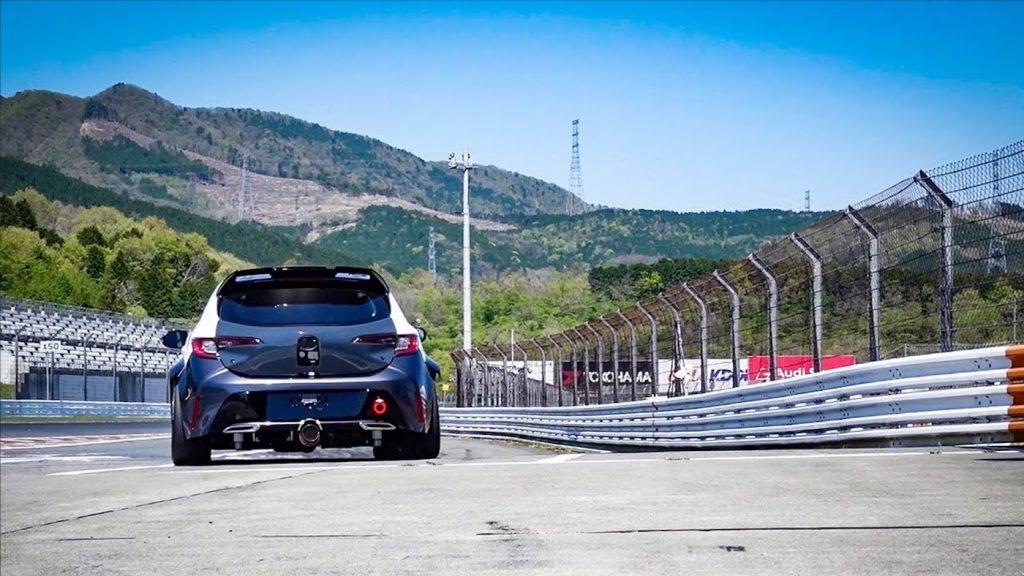 Prototype hydrogen Toyota Corolla on the race track