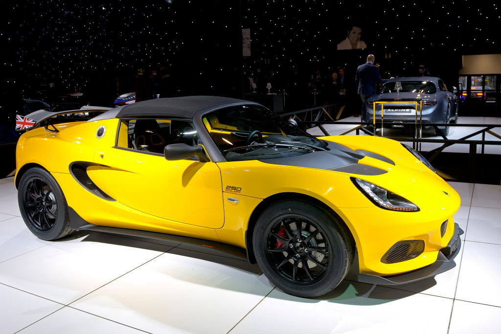 A bright yellow lotus elise 250 cup