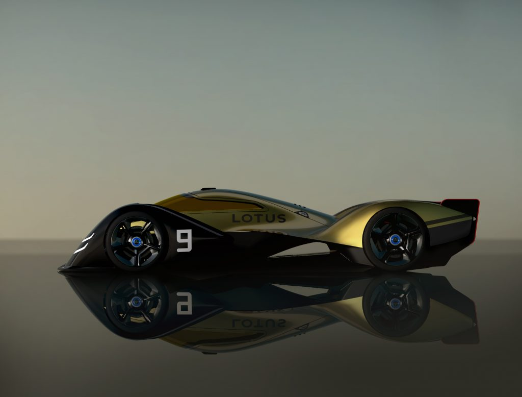 A side view of the gold and black Lotus E-R9