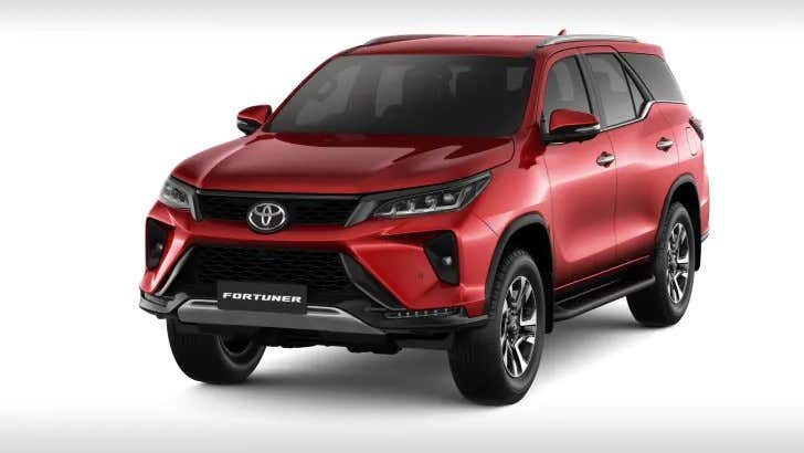 The 2021 Toyota Fortuner in red